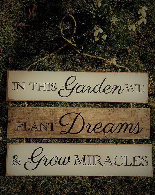 gardening motto plaque